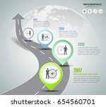 road way infographic template 4 ... | Shutterstock .eps vector #654560701