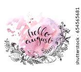 hand drawn ink wild flowers... | Shutterstock .eps vector #654565681