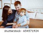 loving mother watching daughter ... | Shutterstock . vector #654571924