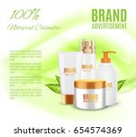 natural cosmetic ads template.... | Shutterstock .eps vector #654574369
