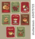 desserts price cards in retro...   Shutterstock .eps vector #654575725