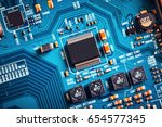 electronic circuit board close... | Shutterstock . vector #654577345