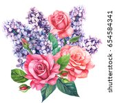 bouquet of flowers lilac and... | Shutterstock . vector #654584341