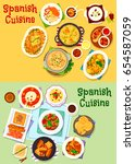 spanish cuisine national dishes ... | Shutterstock .eps vector #654587059