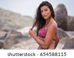 attractive female wearing a... | Shutterstock . vector #654588115