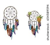 hand drawn ornate dreamcatcher... | Shutterstock .eps vector #654589594