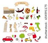 set of italy symbols | Shutterstock .eps vector #654591175
