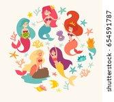 mermaid girls vector...   Shutterstock .eps vector #654591787
