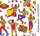 lucha libre seamless pattern.... | Shutterstock .eps vector #654591937
