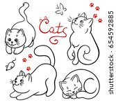 Stock vector vector set of cartoon cute cats in different poses 654592885