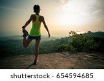 young fitness woman runner... | Shutterstock . vector #654594685