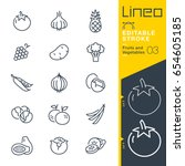 lineo editable stroke   fruits... | Shutterstock .eps vector #654605185