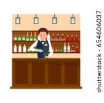 staff set. barista in apron in... | Shutterstock .eps vector #654606037