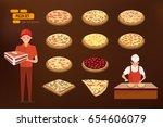 different kinds of italian... | Shutterstock .eps vector #654606079