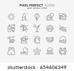 thin line icons set of summer... | Shutterstock .eps vector #654606349