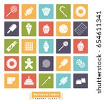 sweets and cakes square icon...   Shutterstock .eps vector #654611341