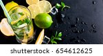top view of mojito cocktail ... | Shutterstock . vector #654612625
