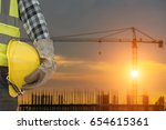 engineer or safety officer... | Shutterstock . vector #654615361