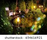 illuminated home garden patio... | Shutterstock . vector #654616921