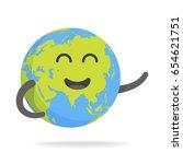 cute cartoon earth character.... | Shutterstock .eps vector #654621751