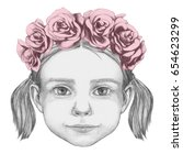 portrait of girl with floral... | Shutterstock . vector #654623299