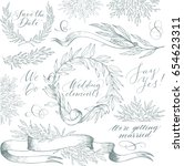 vector collection of hand drawn ... | Shutterstock .eps vector #654623311