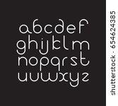 elegant line orbed font. circle ... | Shutterstock .eps vector #654624385