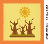 flat shading style icon drought ... | Shutterstock .eps vector #654625555