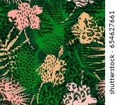 trendy seamless exotic pattern... | Shutterstock .eps vector #654627661