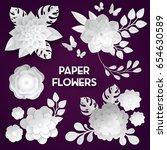 elegant white paper cut flowers ...   Shutterstock .eps vector #654630589