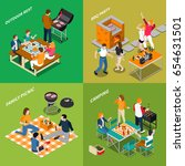 bbq isometric compositions with ... | Shutterstock .eps vector #654631501