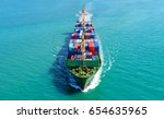 container ship in export and... | Shutterstock . vector #654635965