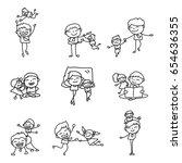 Set Of Hand Drawing Cartoon...