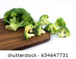 closeup broccoli on chopping... | Shutterstock . vector #654647731