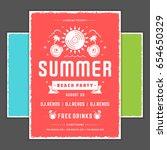 retro summer party design... | Shutterstock .eps vector #654650329