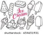 ice cream set of sweet dessert... | Shutterstock .eps vector #654651931