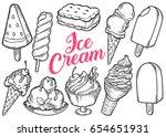 ice cream set of sweet dessert... | Shutterstock .eps vector #654651931