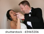 laughing bride and groom as he... | Shutterstock . vector #65465206