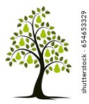 vector pear tree isolated on... | Shutterstock .eps vector #654653329