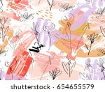 doodles with grunge texture... | Shutterstock .eps vector #654655579