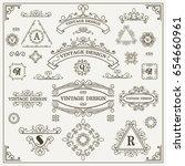 vector set  calligraphic design ... | Shutterstock .eps vector #654660961