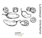 vector hand drawn set of farm... | Shutterstock .eps vector #654662671