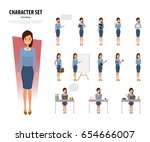 set of business woman character ... | Shutterstock .eps vector #654666007
