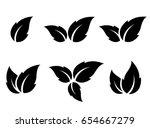 black leaf icons set on white... | Shutterstock . vector #654667279