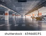Interior of parking garage with ...