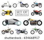 set of motorcycle icons. retro... | Shutterstock .eps vector #654668917