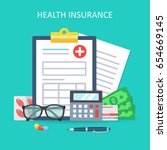 health insurance form concept.... | Shutterstock .eps vector #654669145