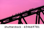 climbing up the sydney harbour... | Shutterstock . vector #654669781