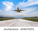 airplane taking off from the... | Shutterstock . vector #654670291