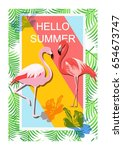 tropical  background.hello... | Shutterstock .eps vector #654673747